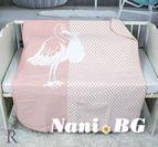 Бебешко памучно одеяло - Розов Щъркел