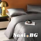 AmazonBasics спално бельо памучен сатен тъмно сиво