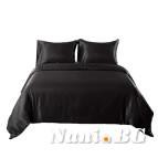 AmazonBasics спално бельо памучен сатен черно