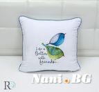Декоративнa Възглавница Птички синьо и зелено