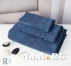 Хавлиена кърпа микропамук с кант Михаела - Синьо