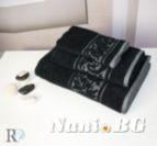Хавлиена кърпа микропамук с кант Михаела - Черно